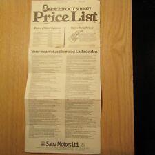 LADA Satra Motors 1200 1300 1500 ES 4 5 Door Saloon Estate Price List Oct 1977