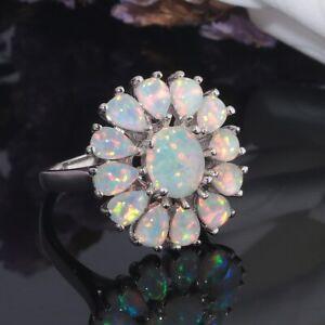 NEU Wunderschöner 925 Plated Silber Feuer-Opal Ring, Gr. 8/18 grün