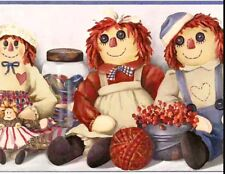 "Raggedy Ann & Andy Doll Ribbon Thread Berry Basket Wallpaper Border 8.5"" x 15ft"