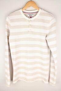 Tommy Hilfiger Denim Men Sweatshirt Casual Henley Neck Striped Cotton size M