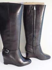 Ralph Lauren Women's Tia Wedge Leather Dress Boots Black Size 6 B MSRP $249