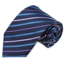 Mens Fashion Wedding Tie Slim Type Neckties Navy Pink Striped Pattern Ties Men
