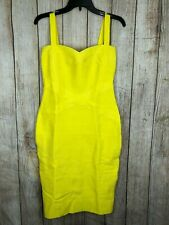 Herve Leger Dress Contrast Bodycon Yellow Bandage Spaghetti Strap Midi A468 **L