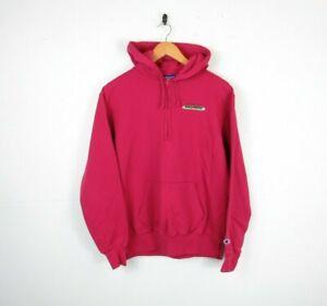 Womens Champion pink Zip Retro American Graphic Hoodie Sweatshirt 90s Size M