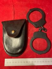 Vintage Steel British Police Force Handcuffs in Leather Pouch.