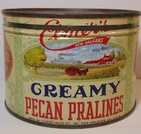 Old Vintage 1950s ELMER PECAN NUTS GRAPHIC KEYWIND TIN NEW ORLEANS LOUISIANA LA