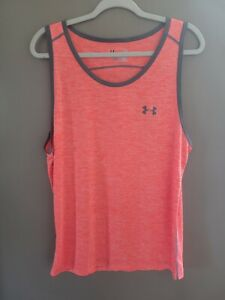 Men's Under Armour Tank Top Size Large HeatGear Loose Coral Gray Sleeveless