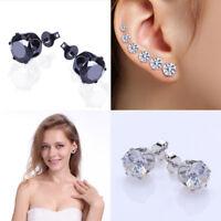 Elegant Black White Round Shiny Zircon Crystal Women Ear Stud Earrings Jewelry