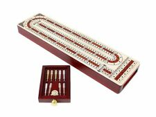 3 Track Continuous Cribbage Board Alphabet e Shape inlaid Maple/Bloodwood+Drawer