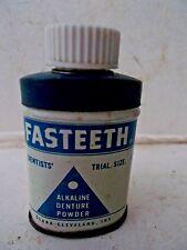 Original 1940s FASTEETH DENTURE TOOTH POWDER  DENTISTS TRIAL SIZE Tin