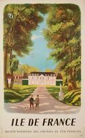Affiche Originale - Dominique - Ile de France - Chasse - Château - Paris - 1946