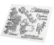8 CHRISTMAS CLEAR STAMPS-XMAS WISHES/GREETINGS/SENTIMENTS-SANTA/CANDLES/TREES