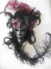 Venezianische Masken Gala mit getigerten Federn - In Venedig Handgemacht!