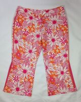 EUC Women's Lilly Pulitzer Pink and Orange Floral Cropped Capri Pants-size 4
