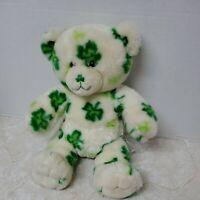 "Build A Bear Shamrock Plush 15"" White Green Stuffed Animal St Patty BABW Clover"