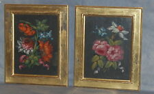 Pair French or English Mid 18th Century Oil Paintings Pink Ribbon Ties Flowers