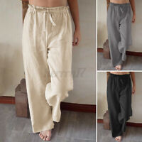 ZANZEA UK Womens Elastic Waist Cotton Linen Trousers Casual Loose Wide Leg Pants