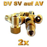 2 Fahrrad Ventil Adapter DV SV Französisch auf Dunlop Autoventil AV KFZ Pumpe
