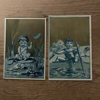Lot Of 2 Victorian Paper Trade Cards Toddlers On Lilly Pad And In Boat