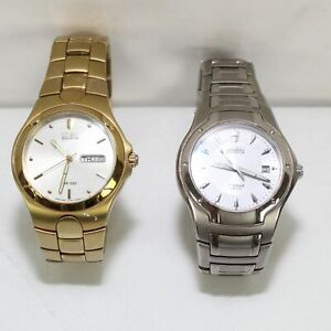 Citizen Eco-Drive E101 WR100 Stainless Steel Day Date Men's Watch Set of 2