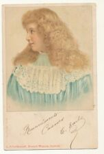 French illustrated postcard ca 1905 - little girl profile portrait