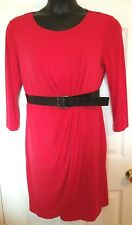 New Directions Womens Size 12 Red Knit Faux Wrap Dress Pleated LS Stretch Belted