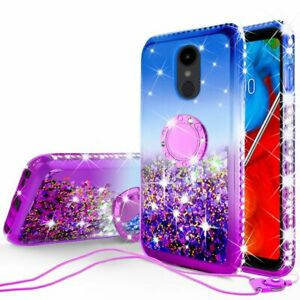 For LG Stylo 5/Stylo 5 Plus Case, Liquid Glitter Bling Case with Ring Kickstand