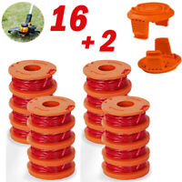 16Pack Replacement Spool Line with 2 Pack Spool Cap Cover For WORX WA0010 WA6531