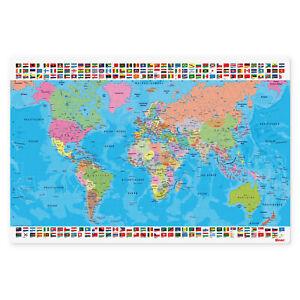 Schreibtischunterlage Schreibtisch Auflage Schreib Unterlage Weltkarte 60 x 40cm