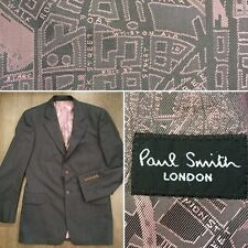 "Paul Smith 38-40"" S Blazer Jacket London Map Pink Funky Lining PS Size Small VGC"