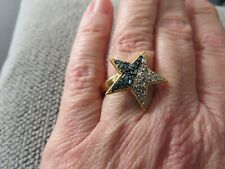 BLUE & WHITE DIAMOND LARGE STAR RING-SIZE M-0.330CTS-WITH 14K GOLD
