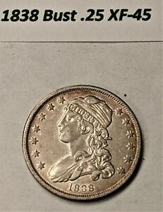 1838 Capped Bust Quarter 25C  Raw Extra Fine Details - Rare - Clean !!
