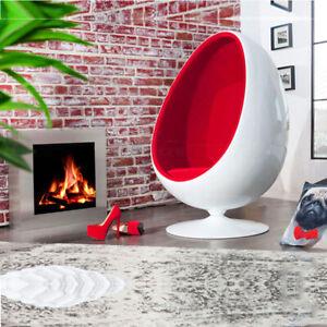 Retro Egg Pod Chair Swivel Chair Red Interior White Fiber Glass-Reinforced