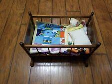 Doll Cradle Bed Crib - Vintage Handmade Rustic Wood Rocking - 17.5 x10 x 10.5