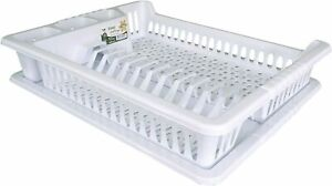 White Large Plastic Dish Drainer Plate and Cutlery Rack with Drip Tray