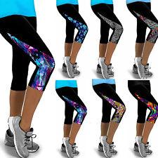 Damen 3/4 Sporthose Yogahose Blume Leggings Tights Training Fitness Capri Hosen
