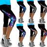 Damen 3/4 Capri Leggings Push Up Sporthose Fitness GYM Yoga Jogginghose Leggins