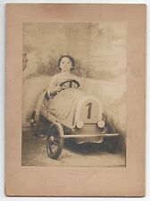 1920s Card Mounted Studio Photo of Boy in Auto