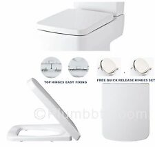 Marvelous Square Soft Close Toilet Seat Top Fixing Easy Clean White Modern