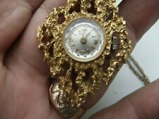 SERVICES VINTAGE GOLD TONE HAND WINDING LADIES  PENDANT WATCH WITH CHAIN