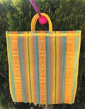 Yellow Shopping Market mexican Bag. Mesh Large Reusable Beach Tote.