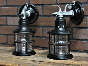 "Vintage Antique Pair Porch Lights Gothic, Craftsman Restored UL 10 3/4"" Tall"