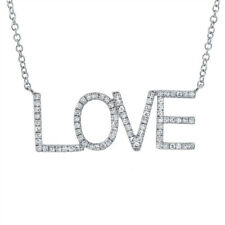 0.21CT 14K White Gold Natural Round Diamond LOVE Inscribed Pendant Necklace