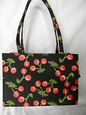 Charming Cherry Clusters Art Purse/Tote Hand-Sewn Glass Bead Embelishment (NWT)