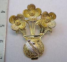 SPILLA IN FILIGRANA ARGENTO PLACCATA ORO . SILVER BROOCH FLOWER SHAPE GOLD PLATE