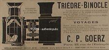 PUBLICITE GOERZ TRIEDRE BINOCLE JUMELLE LONGUE VUE KEPLER DE 1900 FRENCH AD RARE
