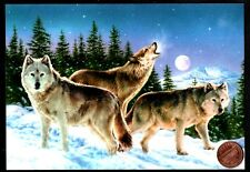 Christmas Wolves Wolf Howling Moon Trees Mountains - Christmas Greeting Card New