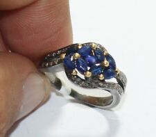 Handmade 925 Sterling Silver Rose cut Diamond Blue Sapphire Victorian Ring 1965