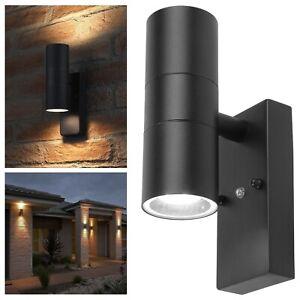 Automatic Dusk Till Dawn Sensor Outdoor Up Down Wall Light Stainless Steel BLACK