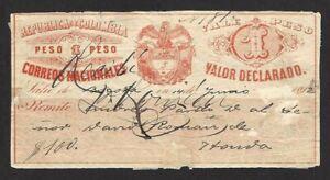 Colombia 1890 Cubierta Certificacion con contenido 1p red used 1892